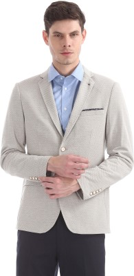 Arrow New York Solid Single Breasted Casual Men Blazer(Beige) at flipkart