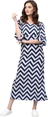 Fashion Village1 Women Sheath Blue, White Dress