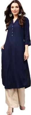 Libas Women Solid Straight Kurta(Blue)