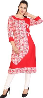 CRAB Casual Printed, Floral Print Women Kurti(Red) Flipkart
