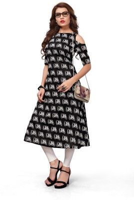 ANGEL QUEEN Festive & Party Printed Women Kurti(Black) Flipkart