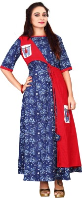 Availkart Casual Printed, Floral Print Women Kurti(Blue, Red) Flipkart