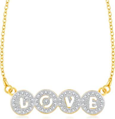 VK Jewels Heartbeats Gold-plated Cubic Zirconia Brass, Alloy Pendant