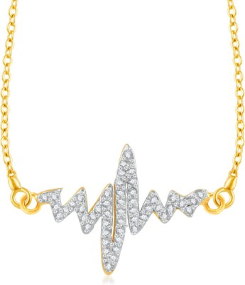 VK Jewels Stone Studded Love Gold-plated Cubic Zirconia Brass, Alloy Pendant