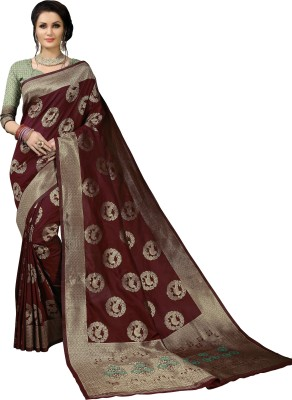 Aashvi Creation Solid, Animal Print Banarasi Jacquard, Cotton Silk, Art Silk, Kota Silk Saree(Maroon) Flipkart