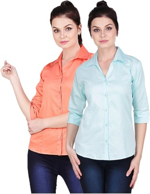 Manash Fashion Women Solid Formal Orange, Light Blue Shirt(Pack of 2)