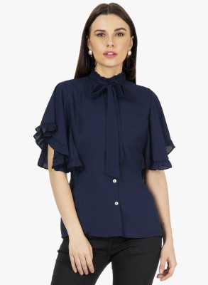 FabAlley Women Solid Formal Blue Shirt