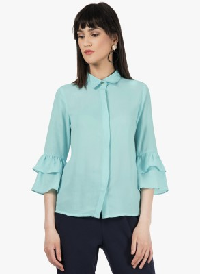 Sfine Women Solid Formal Light Blue Shirt