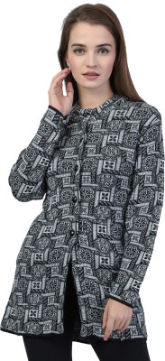 TAB91 Self Design Round Neck Casual Women Black Sweater at flipkart