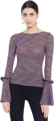 Primo Knot Party Bell Sleeve Woven Women Multicolor Top
