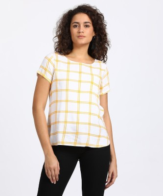 People Casual Short Sleeve Checkered Women