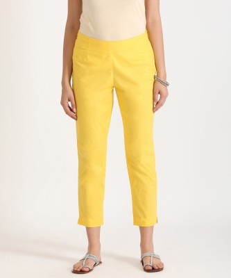 Aurelia Slim Fit Women Yellow Trousers at flipkart
