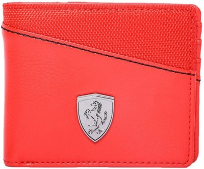PUMA Men Casual Red Genuine Leather Wallet 6 Card Slots