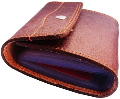 FERRET Men Tan Artificial Leather Card Holder 20 Card Slots