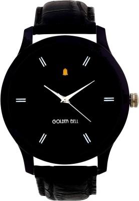 Golden Bell GB-607BlkDBlkStrap Classic black dial black leather strap analog wrist Watch  - For Men