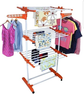 SHP SONI 3-TIER SINGLE M.S Carbon Steel, Plastic Floor Cloth Dryer Stand(Orange)