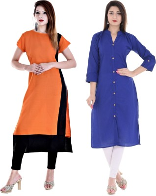 Desier Formal Solid Women Kurti(Pack of 2, White, Pink)