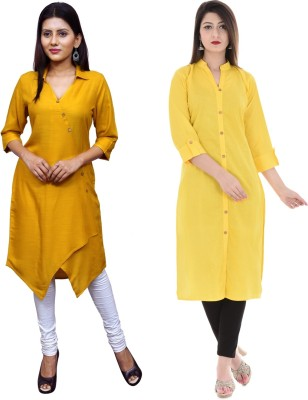 Uniquestyles Formal Solid Women Kurti(Pack of 2, Orange, Red)