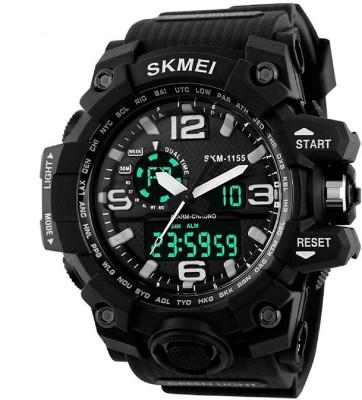 SKMEI 1155BLCK Analog   Digital Dual Dispaly Analog Digital Watch   For Men SKMEI Wrist Watches