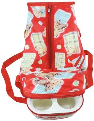 FLICK IN Premium Multi Purpose Teddy Bear Printed Red Nursery Babies Diper Bag | Nappy Bag | Mother Bag With 2 Bottle Holders Nursery Bag Red FLICK IN