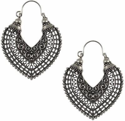 Aabhu Aabhu Oxidized German Silver Handcrafted Afghani Tribal Dangler Chandbali Earrings Jewellery For Girls and Women Alloy Chandelier Earring