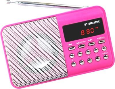 OYD Portable Digital Bt246 FM Radio support recording , usb pendrive, aux in FM Radio(Pink)  available at flipkart for Rs.999