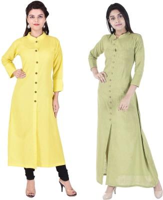 Desier Women Solid Anarkali Kurta(Yellow, Light Green) Flipkart