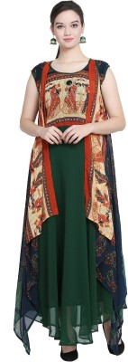 Vesture Forge Festive & Party Solid, Floral Print, Printed Women Kurti(Pack of 2, Dark Green)