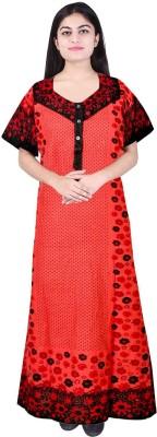 JWF Women Nighty(Red, Black)