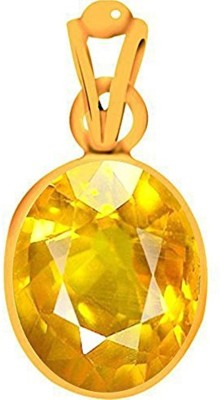 Tejvij and Sons 3.25 Ratti natural yellow sapphire ashthadhatu pendent with gold plated for men & women… Gold-plated Sapphire Metal Pendant
