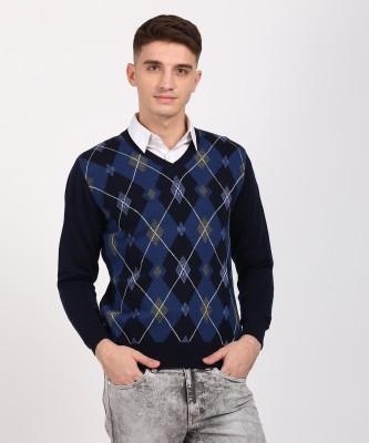 Monte Carlo V-neck Argyle Men's Pullover