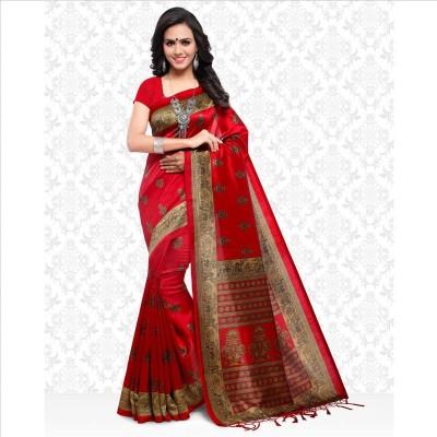 Divastri Floral Print Kalamkari Art Silk Saree(Red)