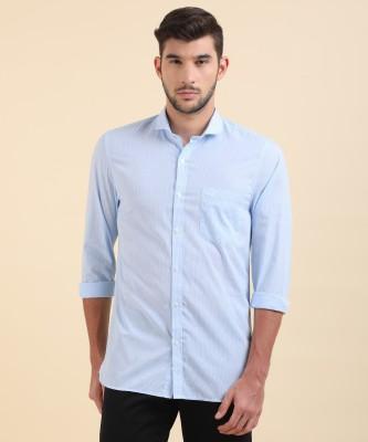 Peter England University Men Checkered Casual Light Blue Shirt
