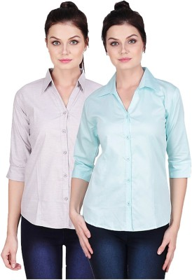 Manash Fashion Women Solid Formal Grey, Light Blue Shirt(Pack of 2)
