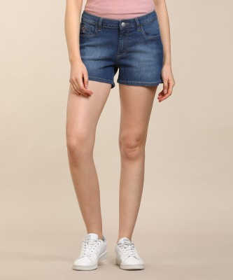 Studio Nexx Washed, Ombre Men Dark Blue Denim Shorts