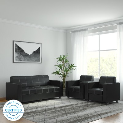 Bharat Lifestyle Cosmo Leatherette 3 + 1 + 1 Black Sofa Set