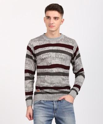 Duke Striped, Printed Round Neck Casual Men Grey Sweater