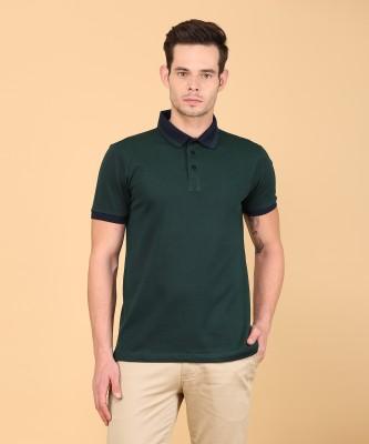 Arrow Sport Solid Men Polo Neck Green T-Shirt