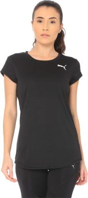 Puma Solid Women Round Neck Black T-Shirt