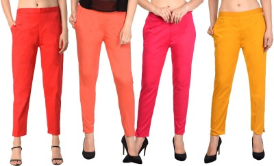 PAMO Regular Fit Women Red, Red, Pink, Light Green Trousers