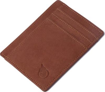 RUGE Men Beige Genuine Leather Card Holder 6 Card Slots
