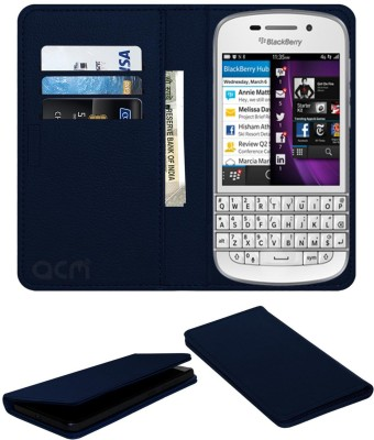 ACM Flip Cover for Blackberry Q10(Blue, Cases with Holder, Artificial Leather)