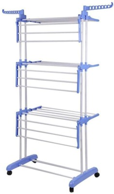 SUNDEX SUNDEX Desire Collapsible Clothes Drying Rack 3-Tier Folding Laundry Dryer Hanger Stainless Steel Floor Cloth Dryer Stand (BLUE) Stainless Steel Floor Cloth Dryer Stand(Multicolor)