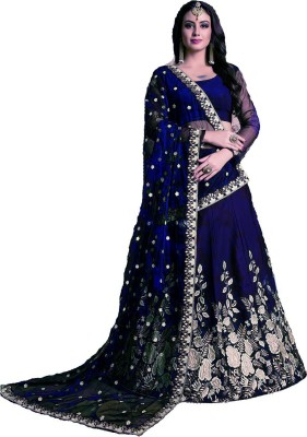 panchhi nx Embroidered Semi Stitched Lehenga, Choli and Dupatta Set(Dark Blue) at flipkart