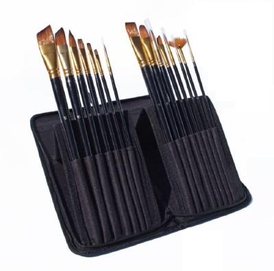 SYGA Paint Brushes - 15 Pcs Art Brush Set for Watercolor, Acrylic, Oil & Face Painting | Short Handle Artist Paintbrushes with Travel Holder & Free Gift Box(Set of 15, Blue)