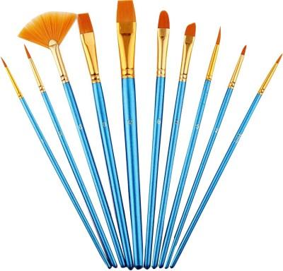 SYGA 10pcs Multi-Function Nylon Brush Assorted Size Artist Painting Brushes (Blue)(Set of 10, Blue)