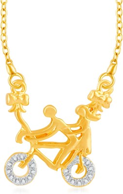 VK Jewels Couples on Cycle Ride Gold-plated Cubic Zirconia Brass, Alloy Pendant