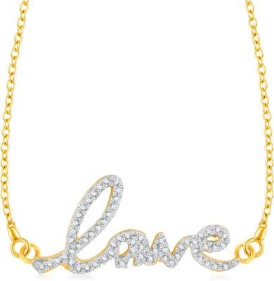 VK Jewels Cursive Love Gold-plated Cubic Zirconia Brass, Alloy Pendant