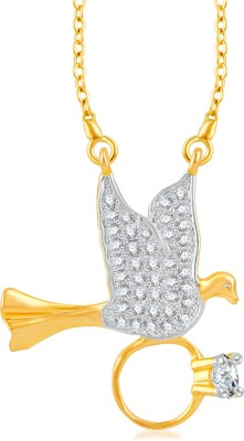 VK Jewels Love Bird with Ring Gold-plated Cubic Zirconia Brass, Alloy Pendant