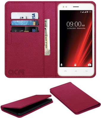 ACM Flip Cover for Lava X19 Pink, Cases with Holder